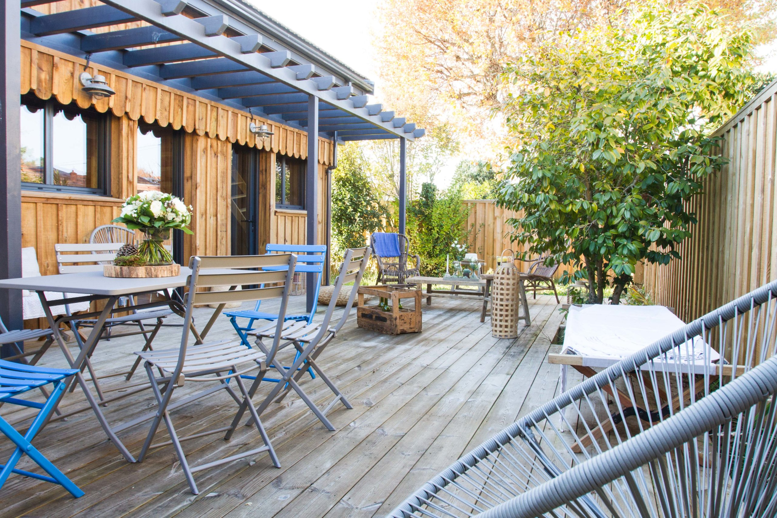 terrasse et bardage avec clôture en bois