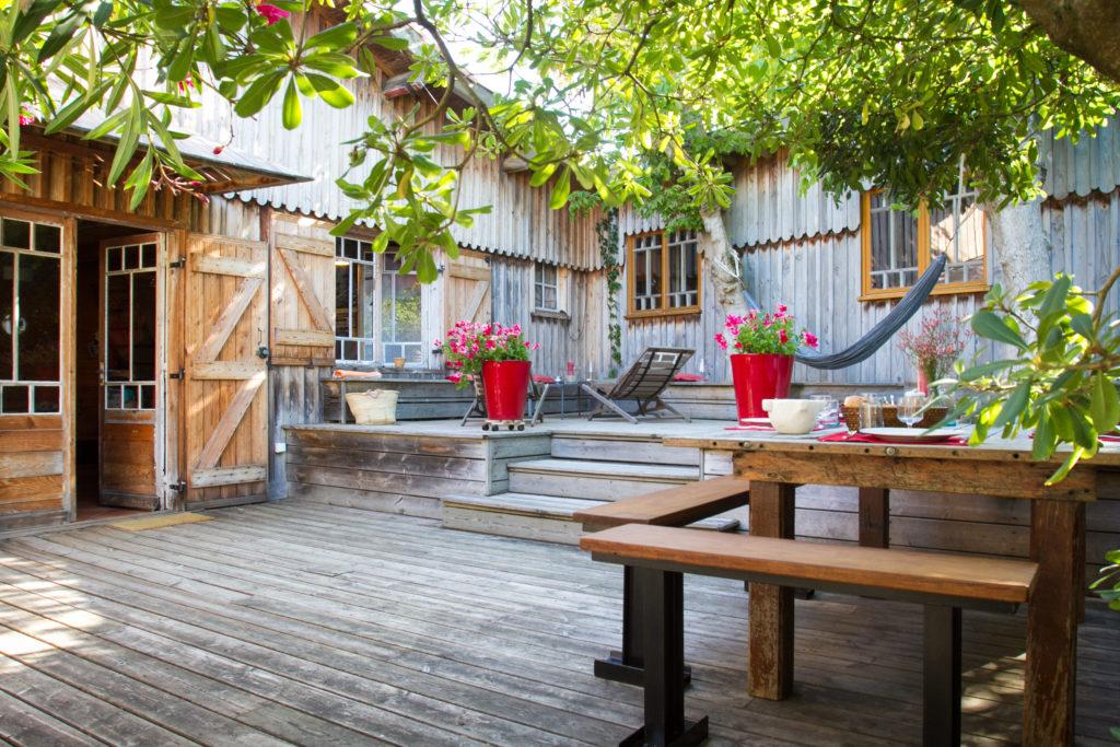 terrasse en bois, caillebotis au Cap Ferret