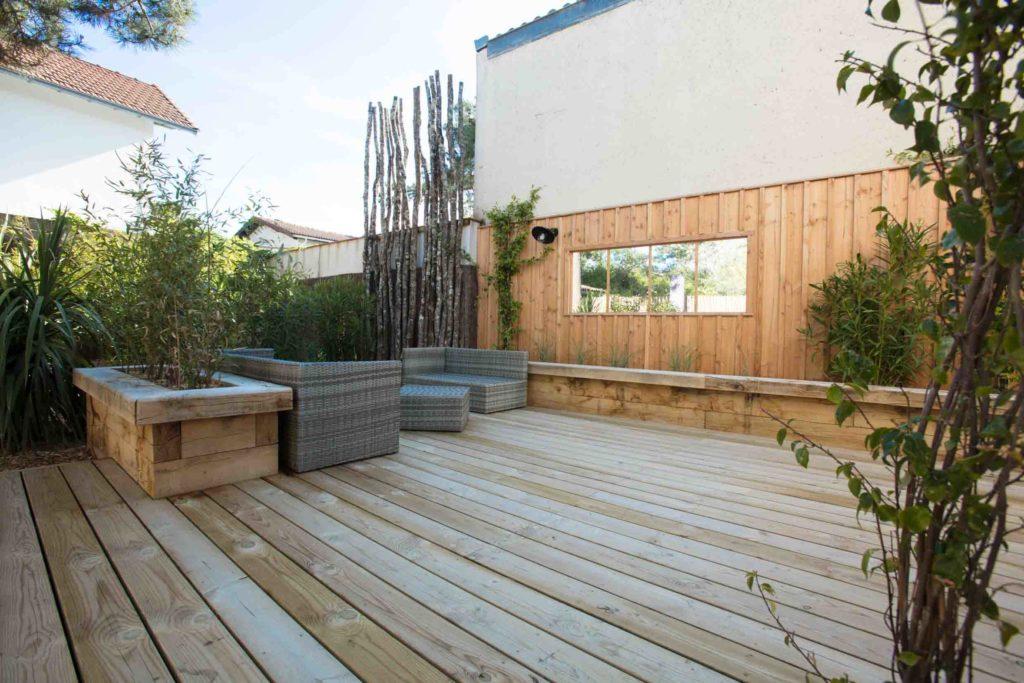 terrasse en bois, caillebotis